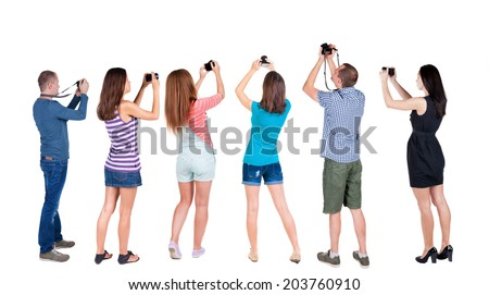 Back view of  group people photographed attractions. Rear view team people collection.  backside view of person.  Isolated over white background. - stock photo