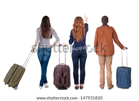 Back view of group  with  suitcase.  Rear view people collection.  backside view of person.  Isolated over white background. - stock photo
