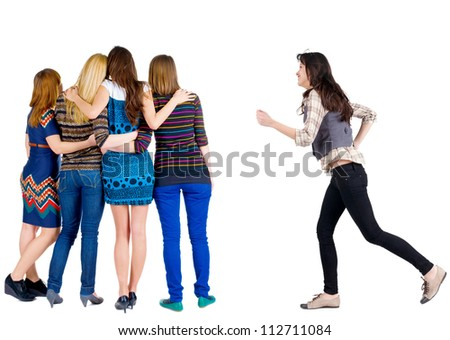 Back view of group young women. girl hastens to join friends.  Rear view people collection. backside view of person. Isolated over white background. - stock photo