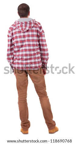 Back view of guy in a plaid shirt with hood  looking. Standing young guy in jeans and  jacket. Rear view people collection.  backside view of person.  Isolated over white background. - stock photo