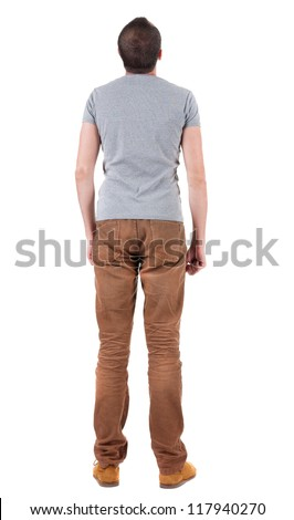 Back view of handsome man in shirt and jeans  looking up.   Standing young guy. Rear view people collection.  backside view of person.  Isolated over white background. - stock photo