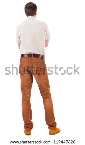 Back view of handsome man in shirt  looking up.   Standing young guy in jeans and  jacket. Rear view people collection.  backside view of person.  Isolated over white background. - stock photo