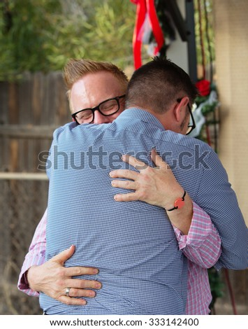 Back view of homosexual male couple embracing - stock photo