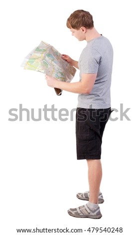 Back view of  journey  young man looking at the map. Rear view people collection.  backside view of person. man in outdoor activities. Isolated over white background. paper examines the tourist map of