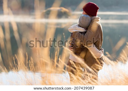 back view of lovely young couple hugging in winter. Couple Hugging Stock Images  Royalty Free Images   Vectors