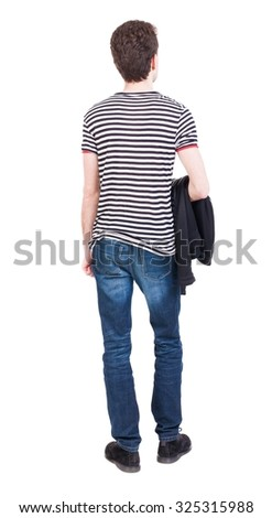 Back view of man in jeans. Standing young guy. Rear view people collection.  backside view of person.  Isolated over white background. Hung the jacket on the left hand man standing. - stock photo