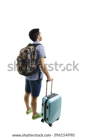 Back view of man with backpack and suitcase looking up. Rear view people collection. backside view of person. Isolated over white background.  - stock photo