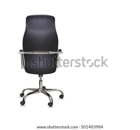 Back View Of Modern Office Chair From Black Leather Isolated