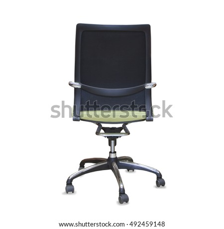 back view of modern office chair from green cloth. Isolated