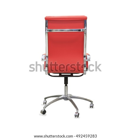 Back View Of Modern Office Chair From Red Leather Isolated