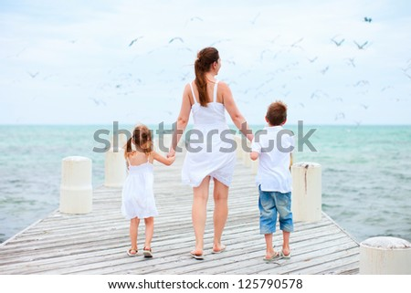 Back view of mother and kids on a wooden dock walking towards hundreds of sea birds - stock photo