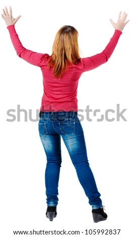 Back view of of beautiful brunette woman in jeans. Showing of positive emotions. Rear view people collection.  backside view of person.  Isolated over white background.