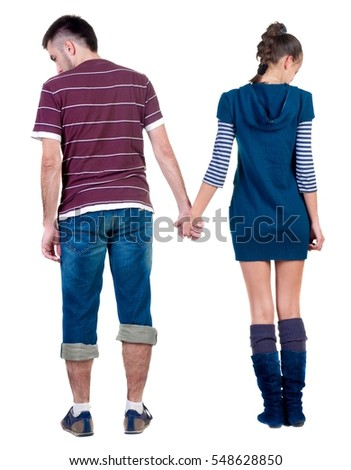 back view of  offended young pair.  upset couple. Rear view people collection.  backside view of person. Isolated over white background.