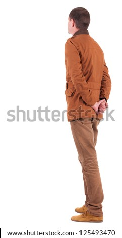Back view of Pensive stylish man in a brown jacket.   Standing young guy in jeans and  jacket. Rear view people collection.  backside view of person.  Isolated over white background. - stock photo