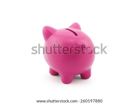 Back view of piggy bank with clipping path
