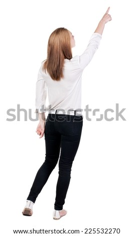 Back view of  pointing woman. beautiful blonde girl. Rear view people collection.  backside view of person.  Isolated over white background. - stock photo