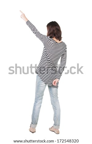Back view of  pointing woman. beautiful brunette  girl in frock. Rear view people collection.  backside view of person.  Isolated over white background. - stock photo