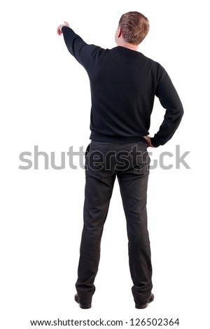 Back view of  pointing young business men in  sweater. blonde businessman  gesture. Rear view people collection.  backside view of person.  Isolated over white background. - stock photo