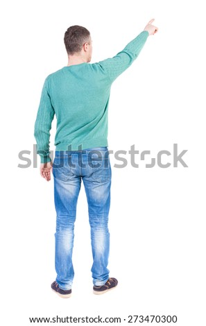 Back view of  pointing young men in jeans. Young guy  gesture. Rear view people collection.  backside view of person.  Isolated over white background.  - stock photo