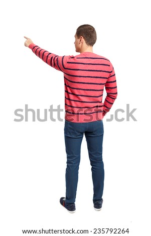 Back view of pointing young men in shirt and jeans. Rear view people collection. Backside view of person. Isolated over white background. - stock photo