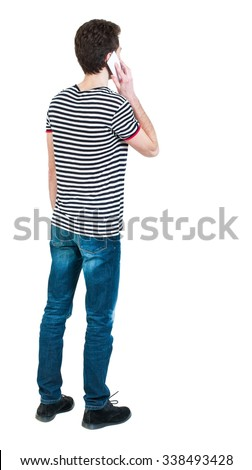 Back view of  pointing young men talking on cell phone. Young guy  gesture. Rear view people collection.  backside view of person.  Isolated over white background.