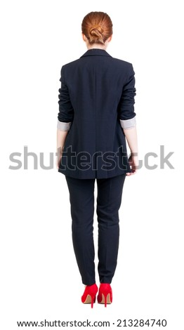 back view of redhead business woman contemplating. Young girl in suit.  Rear view people collection.  backside view of person.  Isolated over white background. - stock photo
