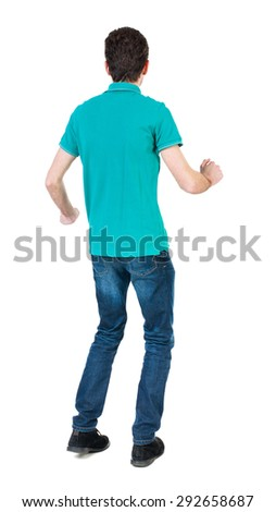 Back view of running man in brown shirt. Walking guy in motion. Rear view people collection. Backside view person. Isolated over white background. The guy in a stylish aquamarine shirt funny dancing