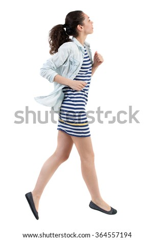 back view of running  woman. beautiful girl in motion. backside view of person.  Rear view people collection. Isolated over white background.Swarthy girl runs away. - stock photo