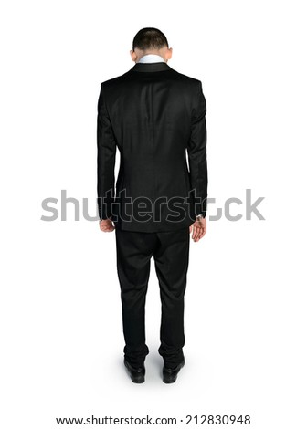 Back view of sad business man - stock photo
