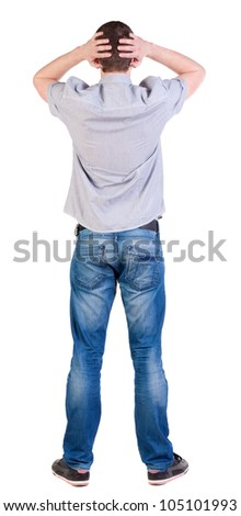 Back view of shocked  man in shirt . Upset adult men. Rear view people collection.  backside view of person.  Isolated over white background.