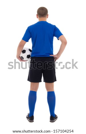 back view of soccer player in blue uniform isolated on white background - stock photo