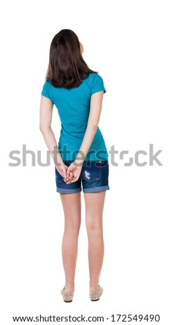 back view of standing young beautiful  brunette woman in shorts. girl  watching. Rear view people collection.  backside view of person.  Isolated over white background. - stock photo