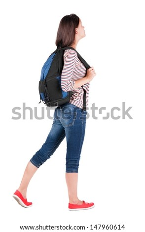 back view of standing young beautiful  brunette woman with backpack. traveling girl  watching. Rear view people collection.  backside view of person.  Isolated over white background.  - stock photo