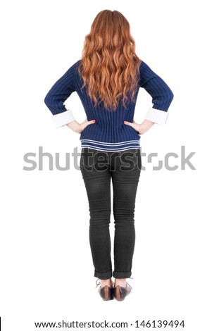 back view of standing young beautiful  redhead woman. girl  watching. Rear view people collection.  backside view of person.  Isolated over white background.  Girl in office attire stands back - stock photo