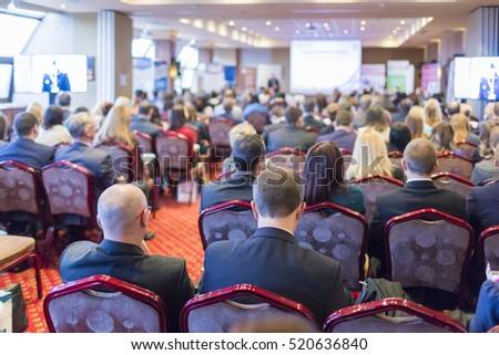 Back View of the People Visiting Business Conference.Horizontal Image