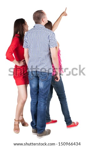 Back view of three friends pointing. group of people watching somewhere. Rear view people collection.  backside view of person.  Isolated over white background. - stock photo