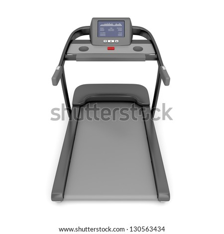 Back view of treadmill machine on white background - stock photo