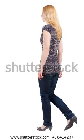 back view of walking blonde girl. woman in motion. Rear view people collection.  backside view of person. Isolated over white background.