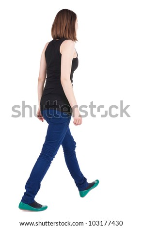 back view of walking brunette girl. woman in motion. Rear view people collection.  backside view of person. Isolated over white background.