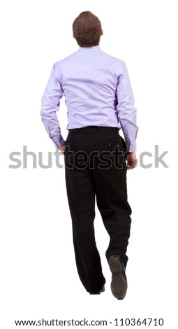 back view of walking  business man.  going businessman. Isolated over white background. Rear view people collection.  backside view of person. - stock photo