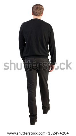 back view of walking  business man.  going young guy. guy in office clothes went off. Isolated over white background. Rear view people collection.  backside view of person. - stock photo