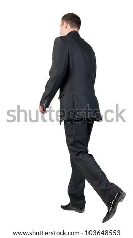 back view of walking  business man.  going young guy in black suit. Isolated over white background. Rear view people collection.  backside view of person.