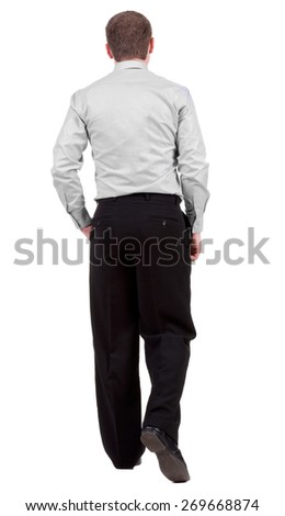 back view of walking  business man.   Isolated over white background. Rear view people collection.  backside view of person.   - stock photo