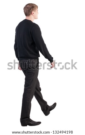 back view of walking  business man.stylishly dressed in formal wear young man. Isolated over white background. Rear view people collection.  backside view of person. - stock photo