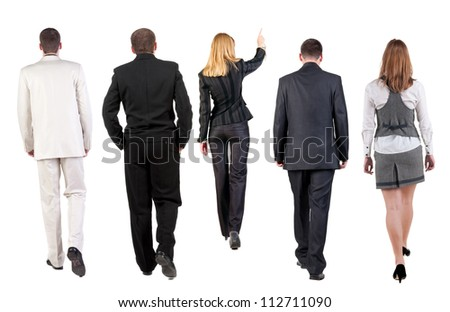 back view of walking business team. group of business people going. Rear view people collection. backside view of person. Isolated over white background. - stock photo