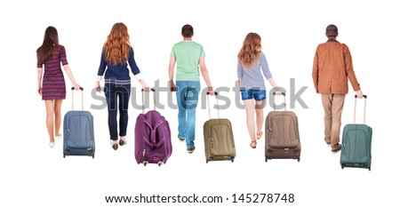 back view of walking  group with suitcase. people in motion.  backside view of person.  Rear view people collection. Isolated over white background.