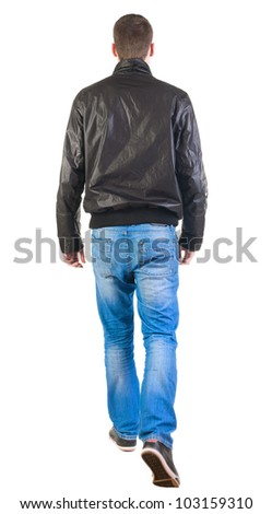 Back view of walking handsome man in jacket.   going young guy in jeans and  jacket. Rear view people collection.  backside view of person.  Isolated over white background. - stock photo