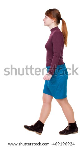 back view of walking  woman. beautiful blonde girl in motion.  backside view of person.  Rear view people collection. Isolated over white background. Girl with red hair tied in a pigtail goes to the