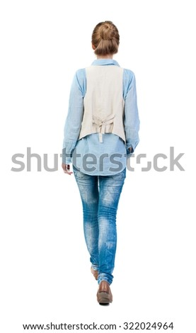 back view of walking  woman. beautiful girl in motion.  backside view of person.  Rear view people collection. Isolated over white background. Girl in sleeveless to go the distance. - stock photo
