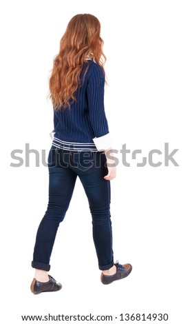 back view of walking  woman . beautiful redhead girl in motion.  backside view of person.  Rear view people collection. Isolated over white background. office worker woman going - stock photo